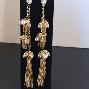 Zara Chandelier like long gold tasseled earrings